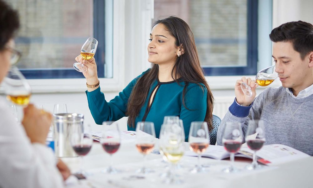 Learning about wines in a classroom